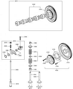 Распредвал дизельного двигателя Doosan P158LE-P180LE-P222LE