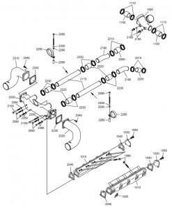 Впускной коллектор ч2 дизельного двигателя Doosan P158LE-P180LE-P222LE
