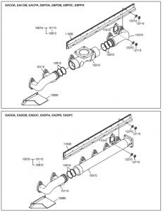 Выпускной коллектор дизельного двигателя DoosanP086TI