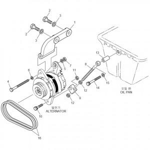 Крепление зарядного генератора газового двигателя GV180TI
