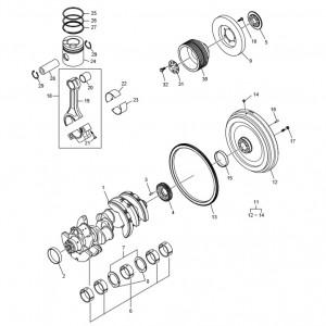 Коленчатый вал, поршневая система газового двигателя GV180TI