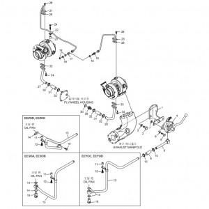 Трубопроводы системы смазки газового двигателя GV180TI