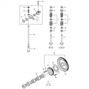Распределительный вал, клапанная система газового двигателя GV158TI